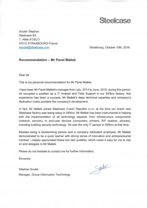 Steelcase - Recommendation letter