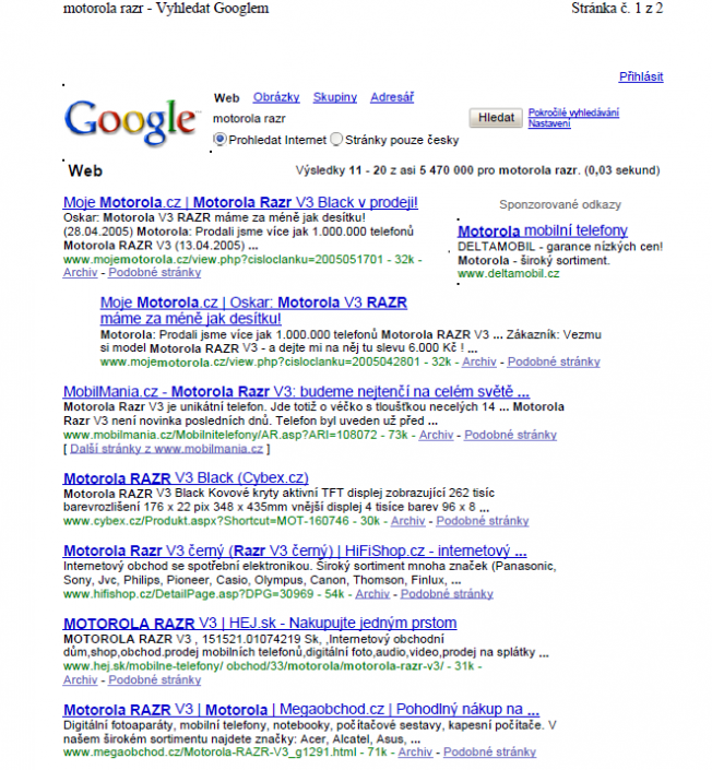Google search - phrase motorola razr - 2nd page, 1st position (2005)