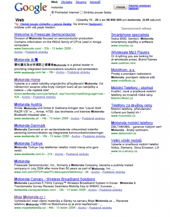 Google search - keyword Motorola - 2nd page, 9th place (2006)