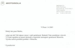 Školní praxe ve firně Motorola - zamítnuto