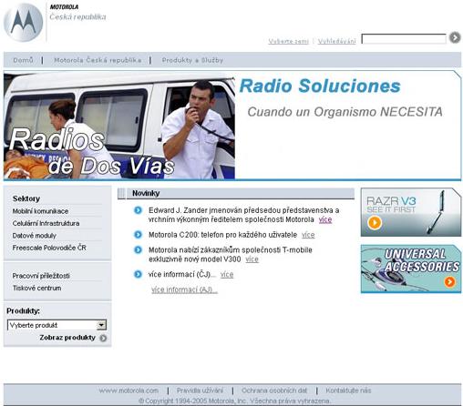 Oficiální stránky českého zastoupení firmy Motorola v roce 2005 moc užitečné návštěvníkům nepřišly...