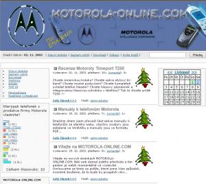 Web Motorola-online.com krátce po přechodu na nový redakční systém v listopadu 2003