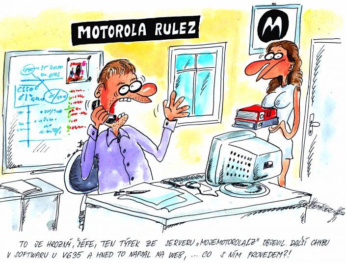Kreslený vtip pro návštěvníky akce MotoSraz (2005)
