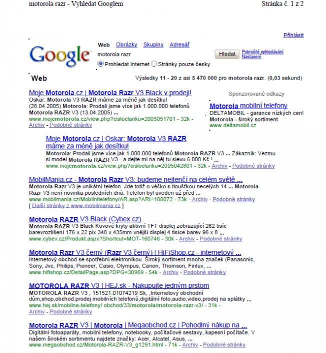 1. místo v Google vyhledávači na frázi motorola razr