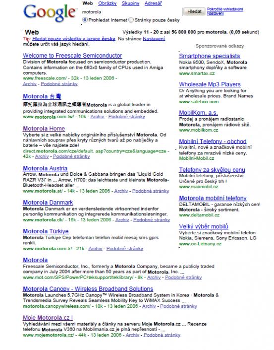 9. místo v Google vyhledávači (celosvětově) na slovo Motorola